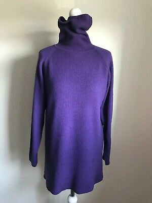 LUX! N.PEAL 100% Cashmere Purple Ribbed Knit Roll-neck Tunic  Jumper, Size 14 • 185£