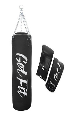 AU54.39 • Buy Get Fit Unfilled Punch Bag 5ft Heavy UnFilled Kick Boxing Set Chain & Gloves