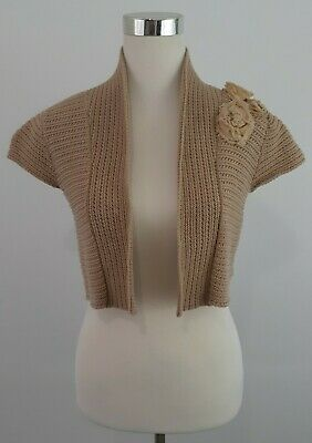 £10.18 • Buy CAbi Size Small Taupe Shrug Sweater Raw Sugar Flower Rosette Open Front Topper