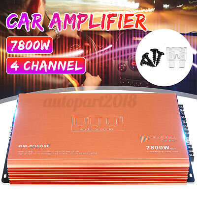 AU75.99 • Buy 7800W Universal Car Stereo Amplifier 4 Channel Bass Audio Power Subwoofer 12V