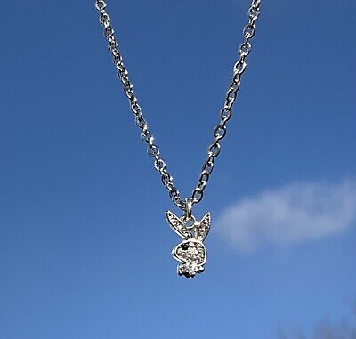 £8.99 • Buy Womens Playboy Bunny Rabbit Silver Stainless Steel Pendant Necklace Chain