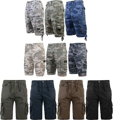 Men's Crosshatch Camo Shorts Combat Cargo Army Camouflage Gym Summer Jeans Pants • 19.99£