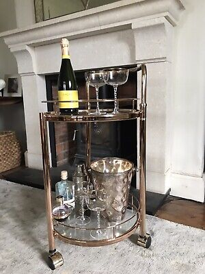 £99.99 • Buy Rose Gold Drinks Trolley With 2 Tiers 30's Art Deco Home Bar Cart
