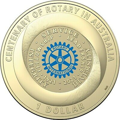 AU20.95 • Buy 2021 Centenary Of Rotary Australia $1 Dollar Uncirculated Coloured Coin On Card