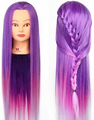 Neverland 26 Inches Hair Styling Training Hairdressing Manikin Doll Head Purple • 12.99£