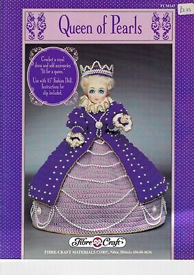 £8.99 • Buy Fibre Craft Crochet Pattern Queen Of Pearls Dress Outfit Royal 15  Dolls FCM 245