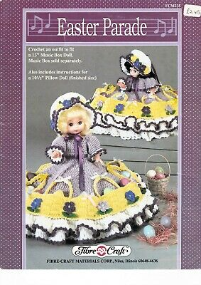 £7.99 • Buy Fibre Craft Crochet Pattern Easter Parade Dress Outfit 13  10.5  Dolls 246 Music