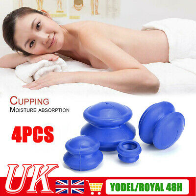£11.99 • Buy 4PC Silicone Medical Vacuum Massager Cupping Cups Therapy Anti Cellulite Set UK