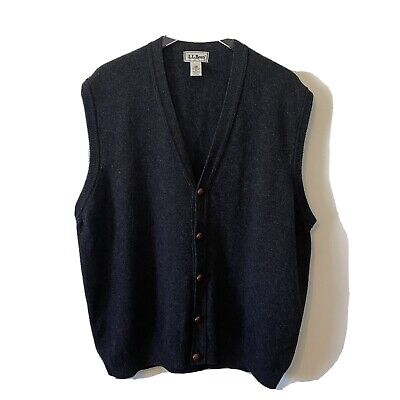 $49 • Buy Vintage LL Bean Charcoal Gray Wool Cardigan Sweater Vest Mens XL Button Front