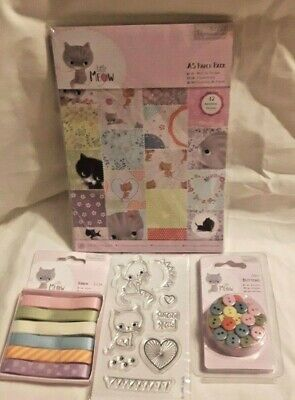 £9.99 • Buy Papermania LITTLE MEOW Cat Bundle : 42 A5 Papers 8 Clear Stamps Buttons Ribbons