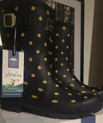 £48 • Buy Joules Womens Molly Mid Height Printed Wellies. In Navy Ladybird. Adult 9. BNIB