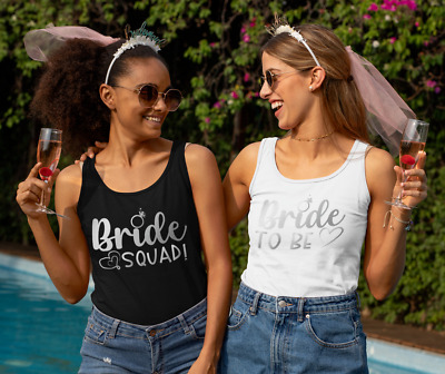 £11.99 • Buy Hen Party Tank Vest Top Bride To Be Bride Squad Silver Print Personalise Gift