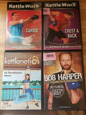 Kettlebell Lot - 4 Workout DVDs Kettlenetics KettleWorX Bob Harper Sculpted Body • 4.23£