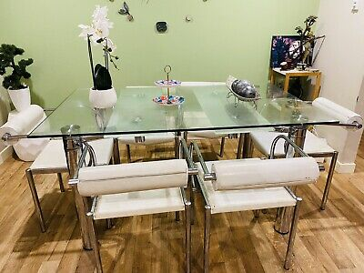 AU185 • Buy Nick Scali Extendable Dining Table With 6 Stainless Still Leather Chair