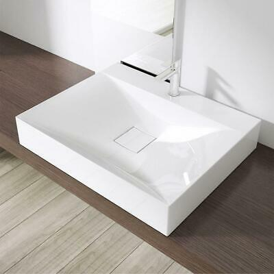 £74.90 • Buy New Large Bathroom White Counter Top Rectangular Stone Resin Basin Only