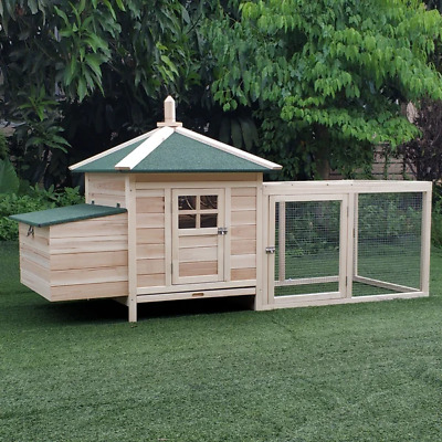 £175.99 • Buy Wooden Chicken Coop With Egg Nesting Box Ducks Hen House Cage Poultry Hutch Run