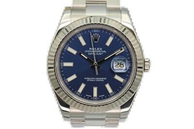 $ CDN13546.25 • Buy Rolex Datejust II Stainless Steel Blue Baton Dial 116334 2014
