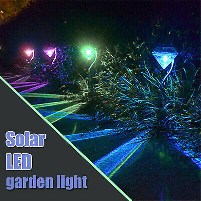 £8.99 • Buy 4pcs Solar Powered Stainless Steel Colour Changing Garden Diamond Stake Lights