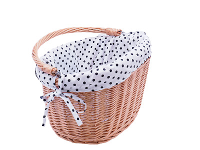 £26.25 • Buy Bicycle Basket Wicker Cotton Liner Front Natural With Handle Large