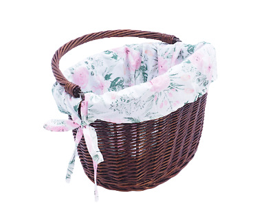 £28.75 • Buy Bike Basket Wicker Dark Cotton Liner Front One Click With Handle Large
