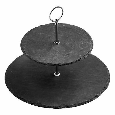 £11.95 • Buy 2 Tier Natural Slate Cake Stand Afternoon Tea Wedding Plates Party Tableware