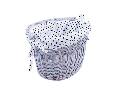 £29.50 • Buy Bike Basket Wicker Grey Cotton Liner Front One Click With Handle