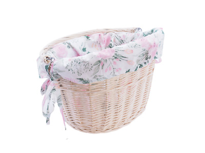 £28.50 • Buy Bicycle Basket Wicker White Cotton Liner Front One Click With Handle