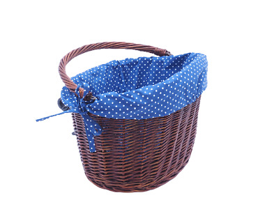 £28.25 • Buy Bike Basket Wicker Dark Cotton Liner Front One Click With Handle Large