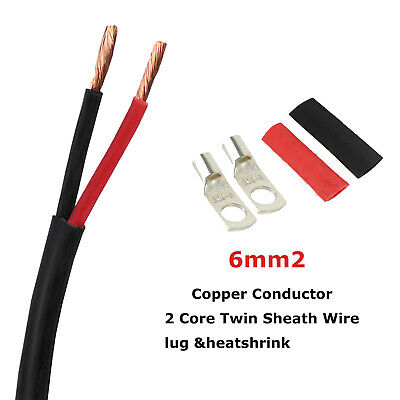 AU28.99 • Buy Vehicle Trailer Battery Cable 2 Sheath Twin Core Wire 6mm Lug & Heatshrink Extra