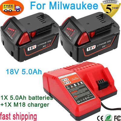 $66.09 • Buy 2X 18V 5.0Ah Lithium-ion Battery And M18 Charger For Milwaukee XC 48-11-1850 NEW