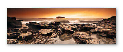 £34.99 • Buy Sunset Beach Surf Rocks Box Framed Stretched Canvas Wall Art Panoramic
