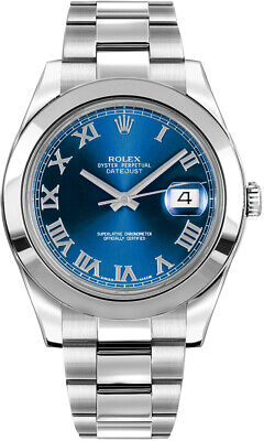 $ CDN12125.44 • Buy New Rolex Datejust Ii Blue Roman Numeral Dial Stainless Steel Watch 116300