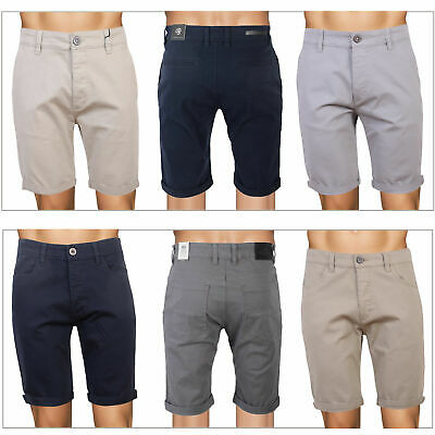 £14.98 • Buy Crosshatch Mens Cotton Chino Shorts Buttoned Casual Turn Up Knee Length Bottoms