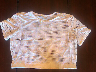 $ CDN32 • Buy Lululemon Sweat Your Heart Out Short Sleeve White Size 12 Cropped Top Mesh
