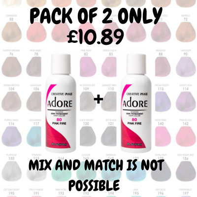 £10.89 • Buy 2x Adore Semi Permanent Hair Dye / Hair Colour 118ml + Uk Free Track Delivery