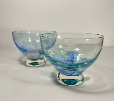 £60 • Buy Pair Of Caithness Art Glass TRANQUILLITY Flower Footed Blue Bowl, Scottish