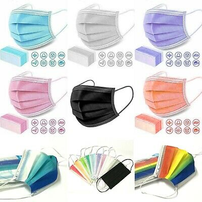 Purple White Black Disposable 3 Ply Face Cover Mask Non-medical Surgical Mask • 5.34£