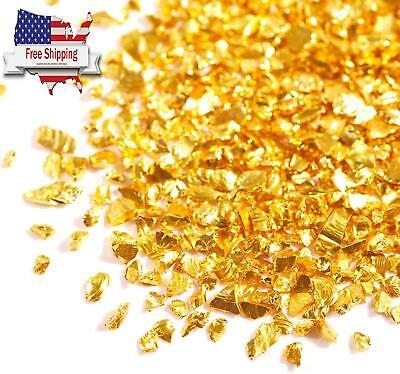 7.05Oz Golden Crushed Glass For Craft Glitter, 0.07-0.15in Irregular Metal NEW • 9.36£