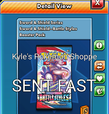 $9.99 • Buy 50 Battle Styles Codes Pokemon TCG Online Booster Pack SENT IN-GAME FAST