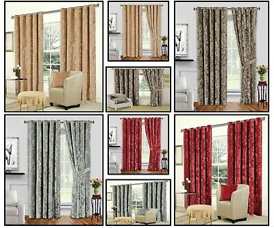 £41.95 • Buy Prime Crushed Velvet Curtains Pair Eyelet Ring Top Beccae Fully Lined Ready Made