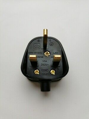 Mains Power Uk 3 Pin Fused Plug, 13a Black Rewireable With Cable Protector • 2.99£