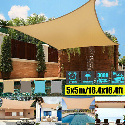 AU67.14 • Buy 5x5M Waterproof Heavy Duty Proof Sun Shade Sail Beige Rectangle Square Outdoor