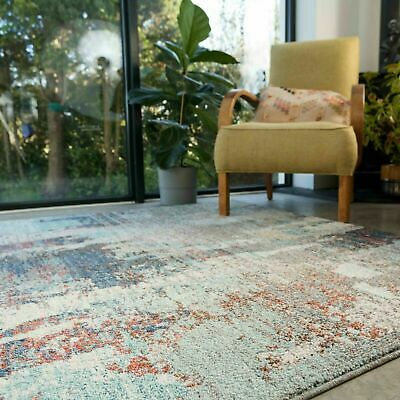 £34.95 • Buy Blue Distressed Rugs For Living Room Abstract Teal Navy Soft Moroccan Faded Rugs
