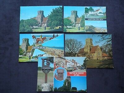 5 Postcards Of Hopton-on-Sea, Norfolk, St. Margaret's Church, Village Sign • 2.99£