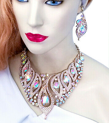 £53.68 • Buy AB Statement Necklace Earring Crystal Rhinestone Bridal Pageant Prom Jewelry
