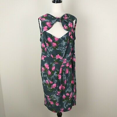 AU35 • Buy Asos Size 22 Dress Grey Pink Floral Sleeveless Party Bow Zip Buttons Formal