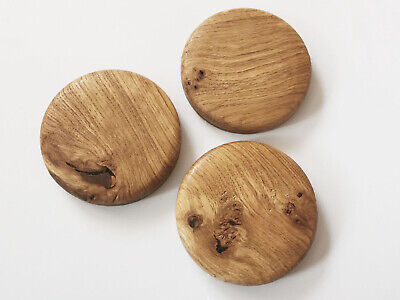£10.99 • Buy Round Solid Oak Display Stand Base Wooden Circular Plinths With Cracks Knots