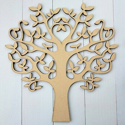 £2.25 • Buy Wooden MDF Tree Shape Blank Family Tree Wedding Guestbook Crafting FREE Hearts