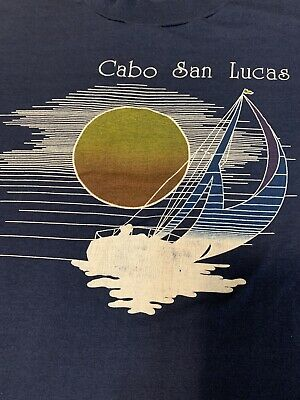 $ CDN46.09 • Buy Vintage 70's Cabo San Lucas Paper Thin Blue T Shirt L Magic Hour Sailing