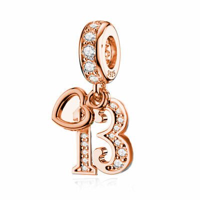 AU28.50 • Buy Happy Birthday Rose Gold (Age) 925 Sterling Silver Charms By Charm Heaven 13 70